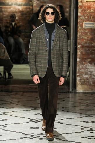 How to wear: dark brown corduroy jeans, charcoal turtleneck, dark green plaid blazer, grey denim jacket