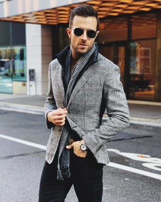 How to wear: black jeans, brown turtleneck, grey plaid wool blazer, black gilet