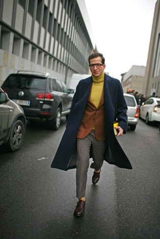 How to wear: grey dress pants, mustard wool turtleneck, tobacco wool blazer, navy overcoat