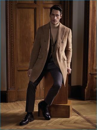 How to wear: dark brown vertical striped dress pants, tan turtleneck, tan blazer, camel overcoat