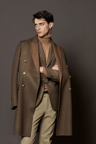 How to wear: beige wool dress pants, tan turtleneck, brown houndstooth wool blazer, brown overcoat