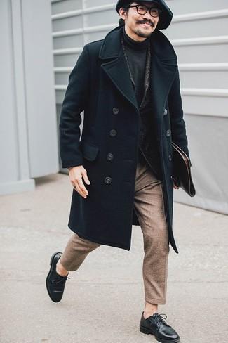 How to wear: brown wool dress pants, charcoal turtleneck, charcoal herringbone wool blazer, black overcoat