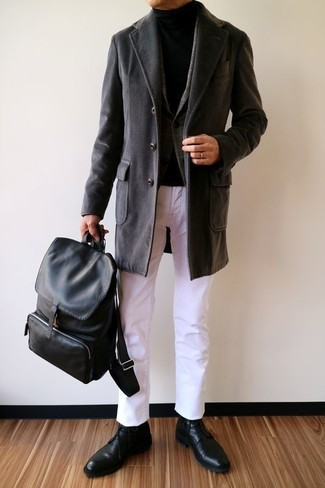 How to wear: white chinos, black turtleneck, charcoal plaid wool blazer, black overcoat