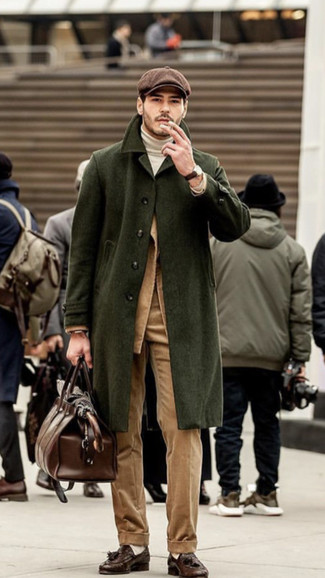 How to wear: khaki corduroy dress pants, white turtleneck, tan corduroy blazer, olive overcoat