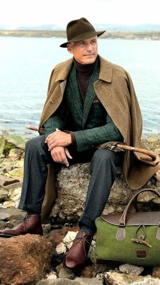 How to wear: charcoal wool dress pants, dark brown turtleneck, dark green check wool blazer, brown overcoat