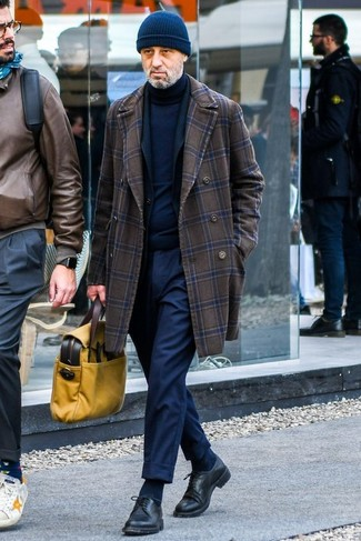 How to wear: navy dress pants, navy turtleneck, black blazer, dark brown check overcoat