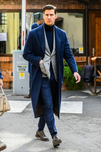 How to wear: navy dress pants, navy turtleneck, grey plaid blazer, navy overcoat