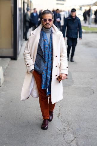 How to wear: tobacco corduroy chinos, grey wool turtleneck, blue gingham blazer, white overcoat