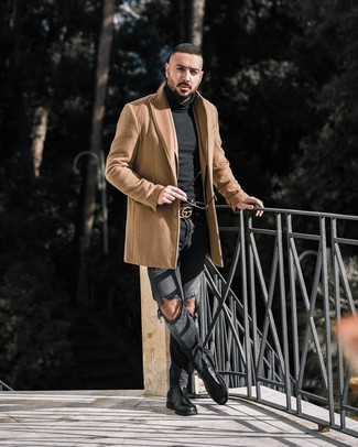 How to Wear Charcoal Ripped Jeans For Men: A camel overcoat and charcoal ripped jeans are a great ensemble to add to your casual repertoire. And if you need to immediately polish up this look with footwear, introduce black leather chelsea boots to the equation.