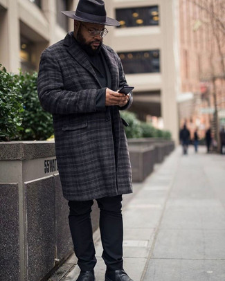 How to Wear a Charcoal Plaid Overcoat: This classic and casual pairing of a charcoal plaid overcoat and black chinos is super easy to throw together without a second thought, helping you look seriously stylish and ready for anything without spending a ton of time rummaging through your closet. Introduce black leather chelsea boots to the mix for an added touch of polish.