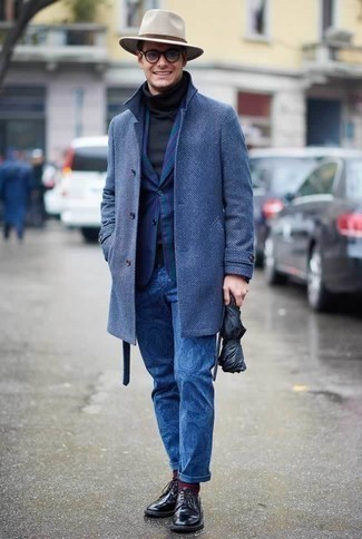How to Wear Navy Print Chinos: Make a bold statement anywhere you go in a blue overcoat and navy print chinos. You can get a bit experimental on the shoe front and add black leather derby shoes to the mix.