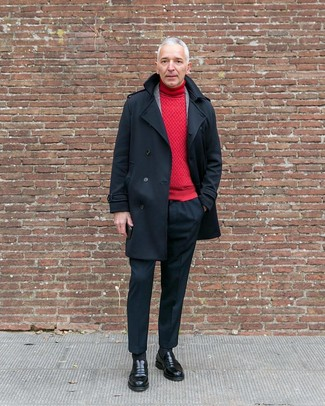 How to wear: black dress pants, red turtleneck, grey plaid wool blazer, black pea coat