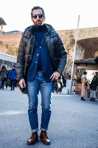 Fashion for Men Over 40: What To Wear: If you're looking for a relaxed and at the same time sharp look, pair a black puffer coat with blue jeans. For something more on the smart end to round off this outfit, complete this ensemble with a pair of brown leather derby shoes.