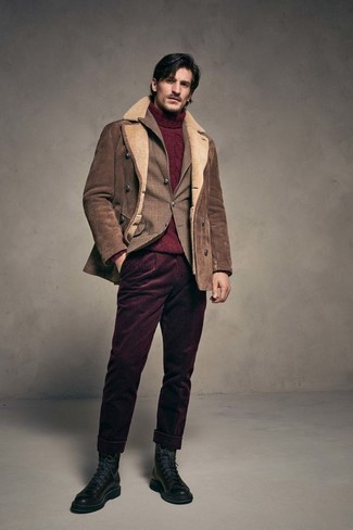 How to wear: burgundy corduroy chinos, burgundy knit turtleneck, brown plaid blazer, brown shearling jacket