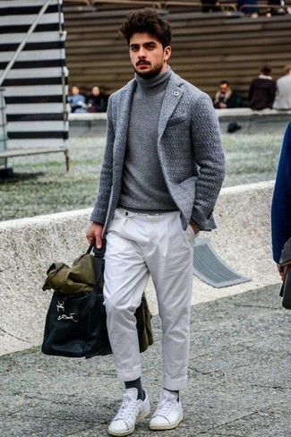 How to Wear an Olive Shirt Jacket For Men: Pair an olive shirt jacket with white chinos to pull together a proper and elegant getup. For something more on the daring side to finish off this getup, slip into a pair of white leather low top sneakers.