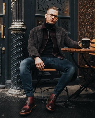 How to wear: navy skinny jeans, black turtleneck, burgundy wool bomber jacket, dark brown overcoat