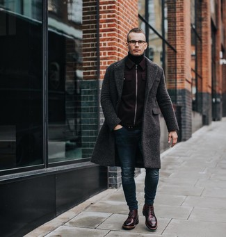How to wear: navy skinny jeans, black turtleneck, burgundy wool bomber jacket, charcoal overcoat