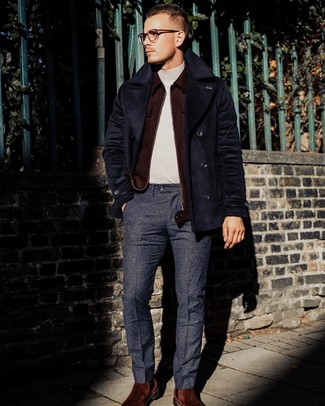 How to wear: navy wool dress pants, beige turtleneck, burgundy wool bomber jacket, navy pea coat