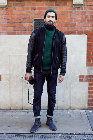How to wear: navy jeans, black turtleneck, dark green cable sweater, black leather bomber jacket