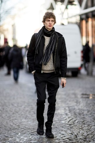 How to Wear a Black Turtleneck For Men: To pull together a relaxed casual look with a modern finish, you can opt for a black turtleneck and black chinos. Add black suede work boots to the equation to make a traditional getup feel suddenly fresh.