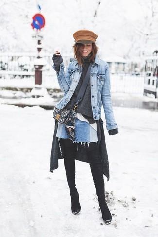 How to wear: white dress shirt, charcoal turtleneck, charcoal cardigan, light blue denim jacket