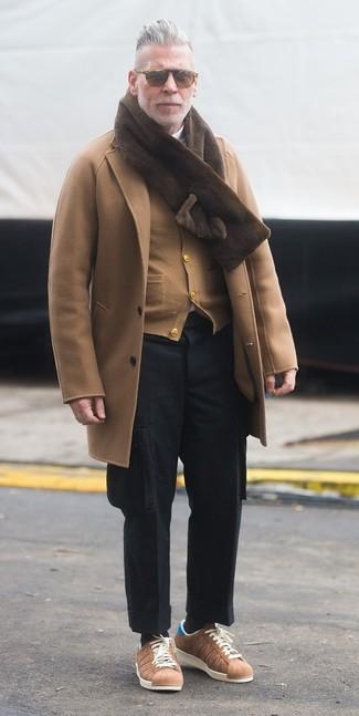 How to wear: black wool cargo pants, white turtleneck, tan cardigan, camel overcoat