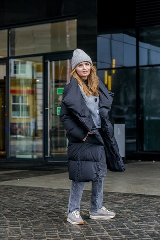 How to wear: grey jeans, black turtleneck, grey knit cardigan, black puffer coat