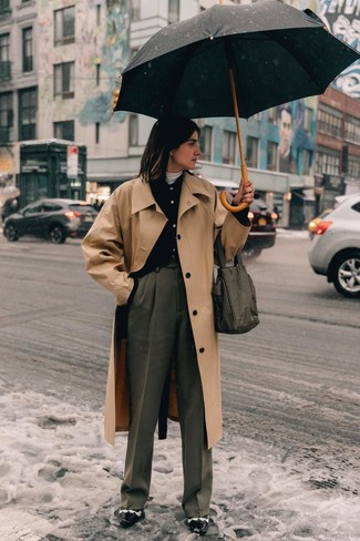How to wear: grey wide leg pants, white turtleneck, black cardigan, tan trenchcoat