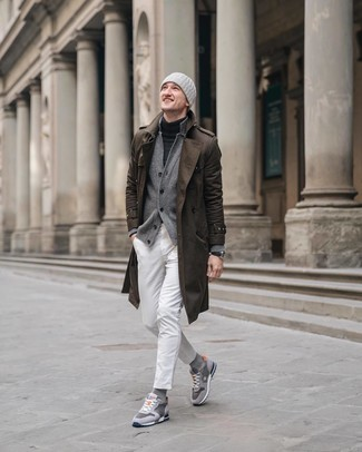 How to wear: white jeans, charcoal turtleneck, grey cardigan, brown trenchcoat