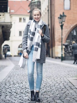 How to wear: light blue skinny jeans, grey turtleneck, grey coat, grey plaid shawl