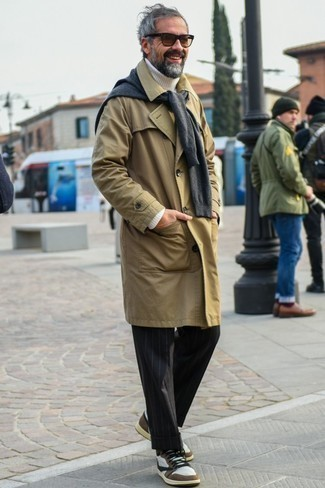 How to Wear Brown Sunglasses For Men: This casual combo of a tan trenchcoat and brown sunglasses is a goofproof option when you need to look stylish in a flash. Complement your getup with a pair of white leather high top sneakers and you're all set looking smashing.