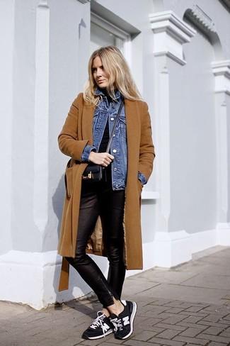 How to wear: black leather skinny pants, black turtleneck, blue denim jacket, tobacco coat