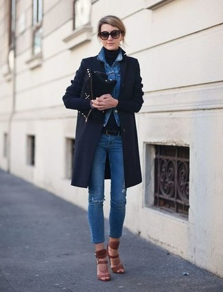 6bf9bc5b3 How to wear: blue ripped skinny jeans, black turtleneck, blue denim jacket,