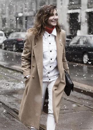 How to wear: white jeans, red turtleneck, white denim jacket, camel coat