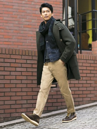 How to wear: khaki chinos, charcoal turtleneck, navy denim jacket, olive duffle coat