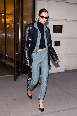 How to wear: light blue jeans, black turtleneck, light blue denim jacket, black leather jacket