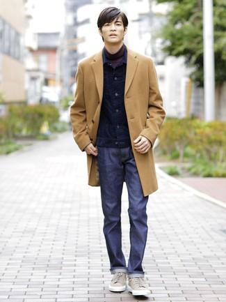 How to wear: navy jeans, dark purple turtleneck, navy corduroy denim jacket, camel overcoat