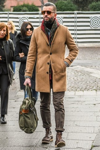How to wear: brown wool dress pants, black turtleneck, light blue denim jacket, camel overcoat