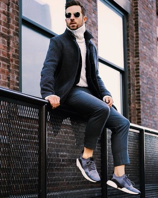 How to wear: navy vertical striped dress pants, white knit turtleneck, navy denim jacket, navy overcoat