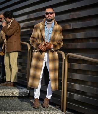 How to wear: white skinny jeans, grey turtleneck, light blue denim jacket, camel plaid overcoat