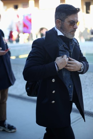 How to wear: white dress shirt, black turtleneck, navy denim jacket, black pea coat