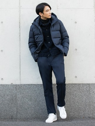 How to wear: navy chinos, charcoal turtleneck, navy denim jacket, navy puffer jacket