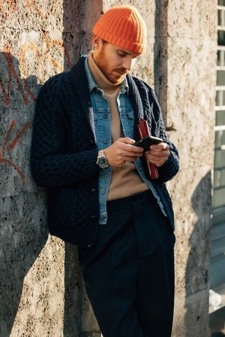 How to wear: navy dress pants, tan turtleneck, blue denim jacket, navy shawl cardigan