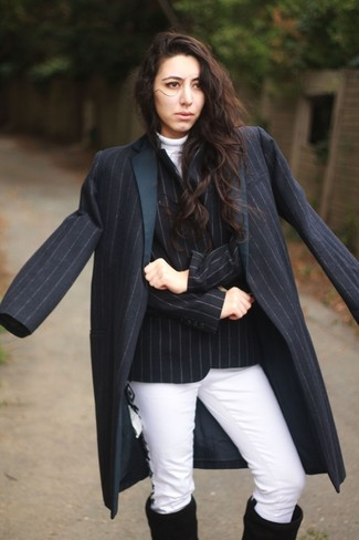How to wear: white jeans, white turtleneck, black vertical striped double breasted blazer, navy vertical striped coat