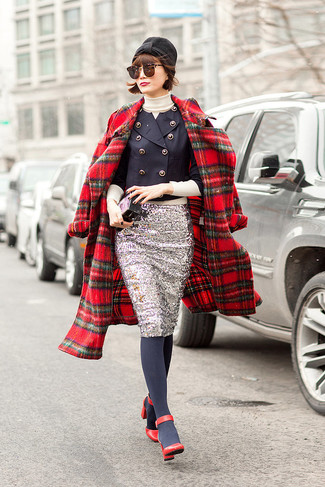 How to wear: silver sequin pencil skirt, beige turtleneck, navy double breasted blazer, red plaid coat