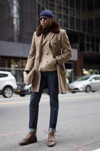 How to Wear Brown Leather Casual Boots For Men: When the situation calls for a casually refined look, you can easily wear a beige fur collar coat and navy jeans. A pair of brown leather casual boots completes this getup quite well.