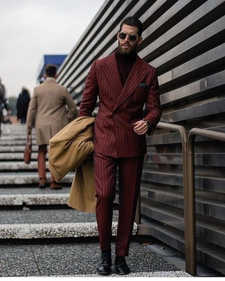 How to wear: burgundy vertical striped dress pants, burgundy turtleneck, burgundy vertical striped double breasted blazer, camel overcoat