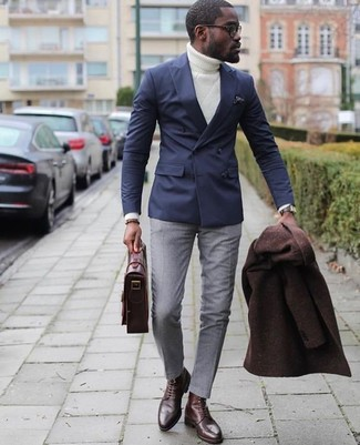 How to Wear a Dark Brown Overcoat: One of the best ways to style out such a timeless menswear piece as a dark brown overcoat is to team it with grey dress pants. Send your outfit a more relaxed path by wearing a pair of dark brown leather derby shoes.