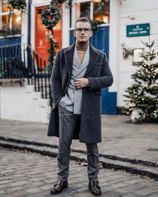 How to wear: charcoal check wool dress pants, tan turtleneck, grey wool double breasted blazer, charcoal overcoat