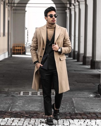 How to wear: black dress pants, tan turtleneck, black double breasted blazer, camel overcoat